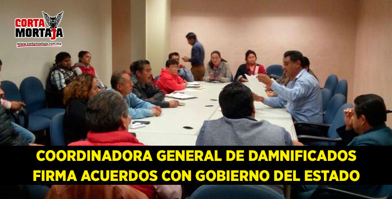 coordinadora general de damnificados firma acuerdos con On acuerdos de gobierno